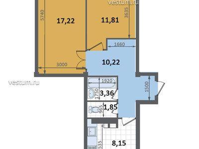 """2-комнатная квартира 52.61 м² в ЖК """"Ватсон"""""""