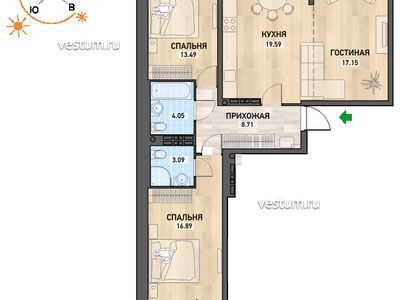 3-комнатная квартира 85.8 м² в ЖК NOVA park