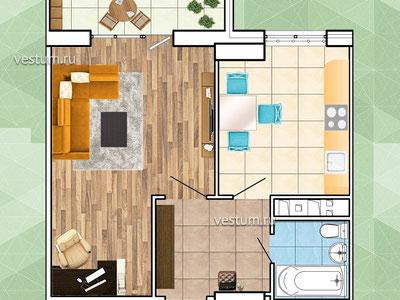 """1-комнатная квартира 42 м² в ЖК """"Грин Парк"""", литер 1"""