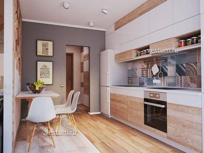 """1-комнатная квартира 43.19 м² в ЖК """"Ривьера Парк"""" дизайн-проект"""