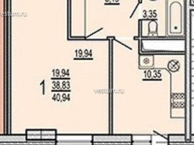 """1-комнатная квартира 40.94 м² в ЖК """"Кремлевские ворота"""""""