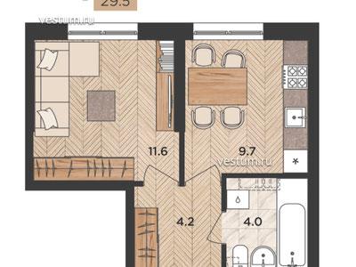 """1-комнатная квартира 29.5 м² в ЖК """"Мята"""""""