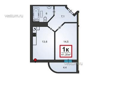"1-комнатная квартира 41 м² в ЖК ""Черноморский-2"", корпус 3"